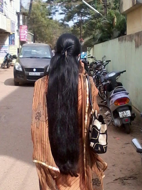 Neatly combed long hair