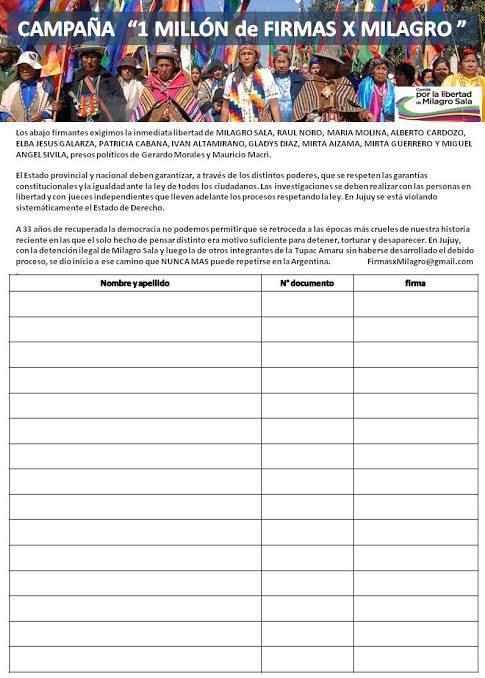 Un millon de firmas por Milagro Sala y los presxs politicxs de Jujuy