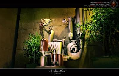 futuristic 3D model espresso machine and atmospheric interior scene