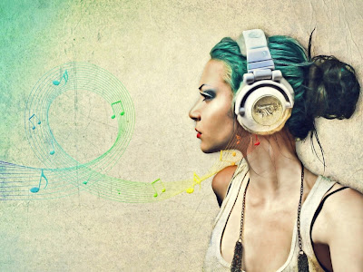 Women with Headphone design Wallpaper