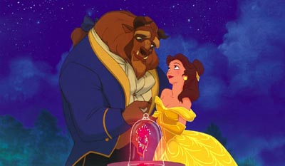 Beast and Belle in the night Beauty and the Beast 1991 animatedfilmreviews.blogspot.com