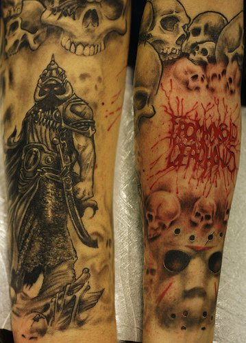 Knight among skulls arm sleeve tattoo design