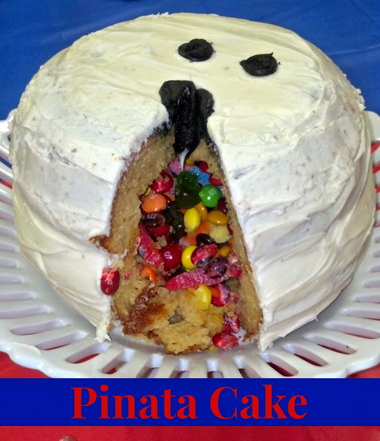 Pinata cake filled with candy