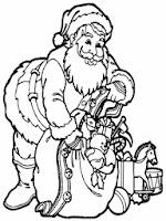 gambar mewarnai santa membawa hadiah natal