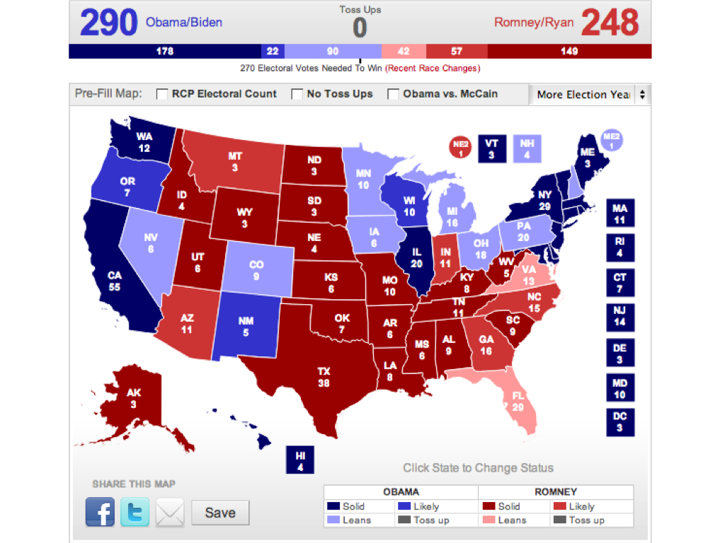 Electoral Vote Predictor: The Big 2012 Map - No Change - Obama Still ...