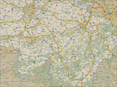 Mapa rodoviário de localização de Dinant – Bélgica