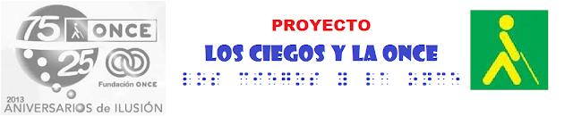 En la imagen se ve el logo del 75 aniversario de la ONCE, el logo de la ONCE y el título del blog en tinta y braille (formato visual)