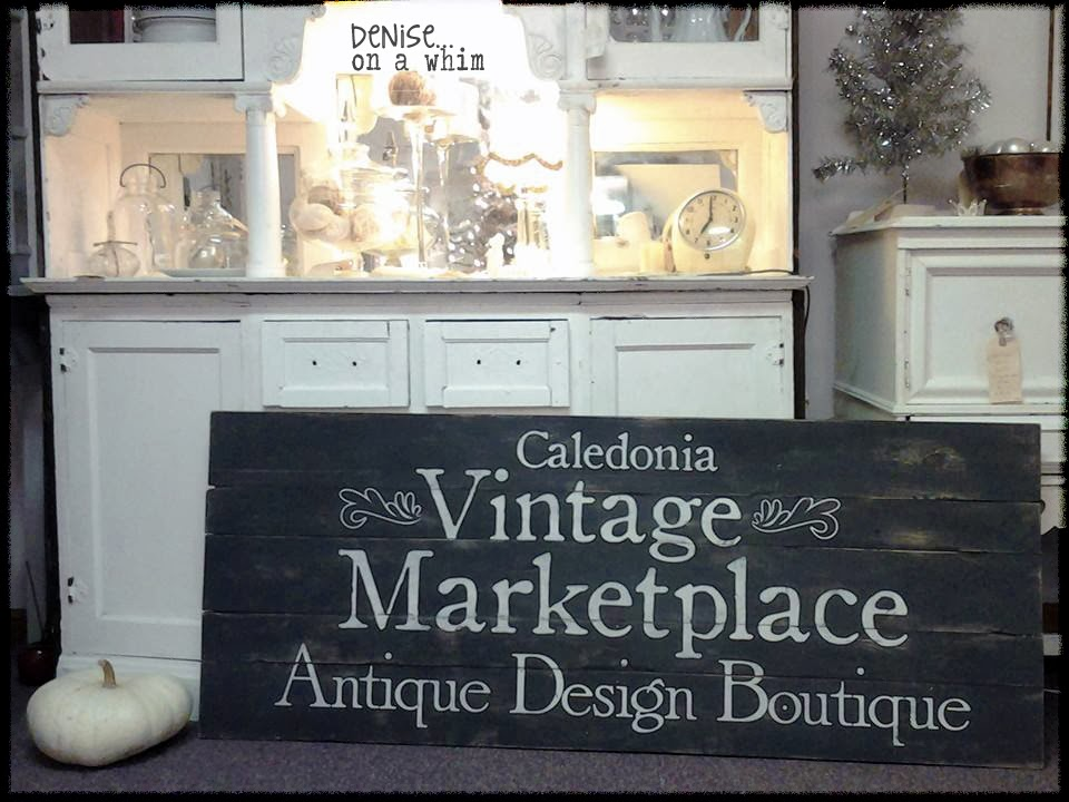 A Pretty Painted Wood Sign for a Store via http://deniseonawhim.blogspot.com