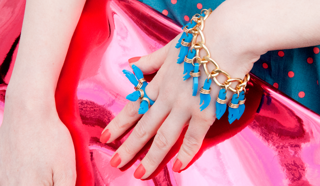 tatty devine, goddess hands bracelet, pink candy clutch