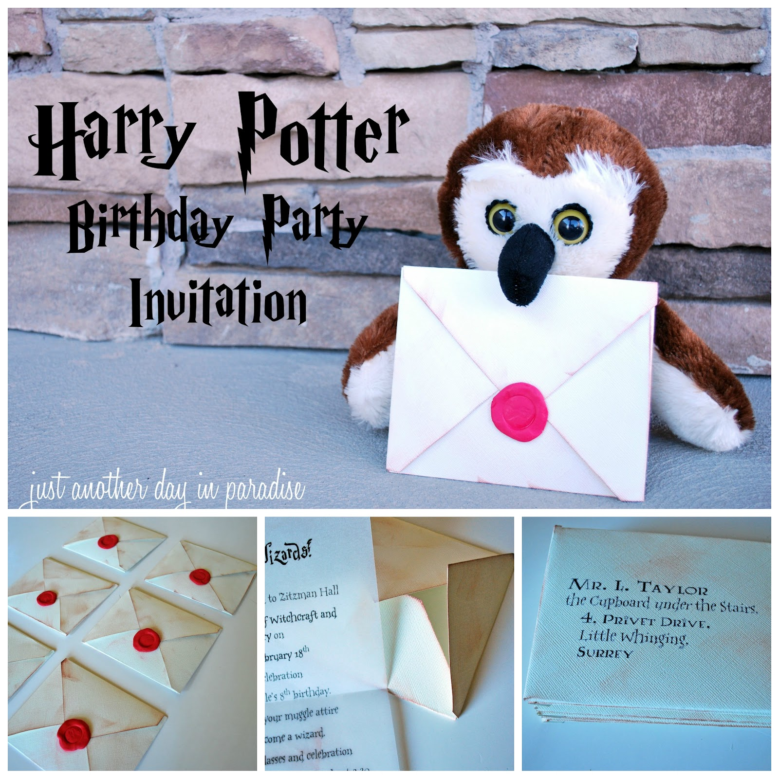 Larissa Another Day Harry Potter Party Invites Tutorial