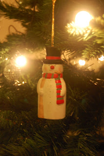 A snowman bauble for the tree.