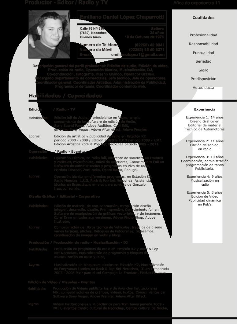 Emiliano Lopez: Curriculum Vitae 1º Parte