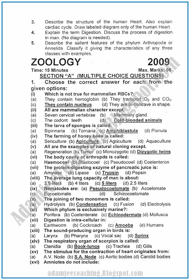 Zoology-2010-past-year-paper-class-XI