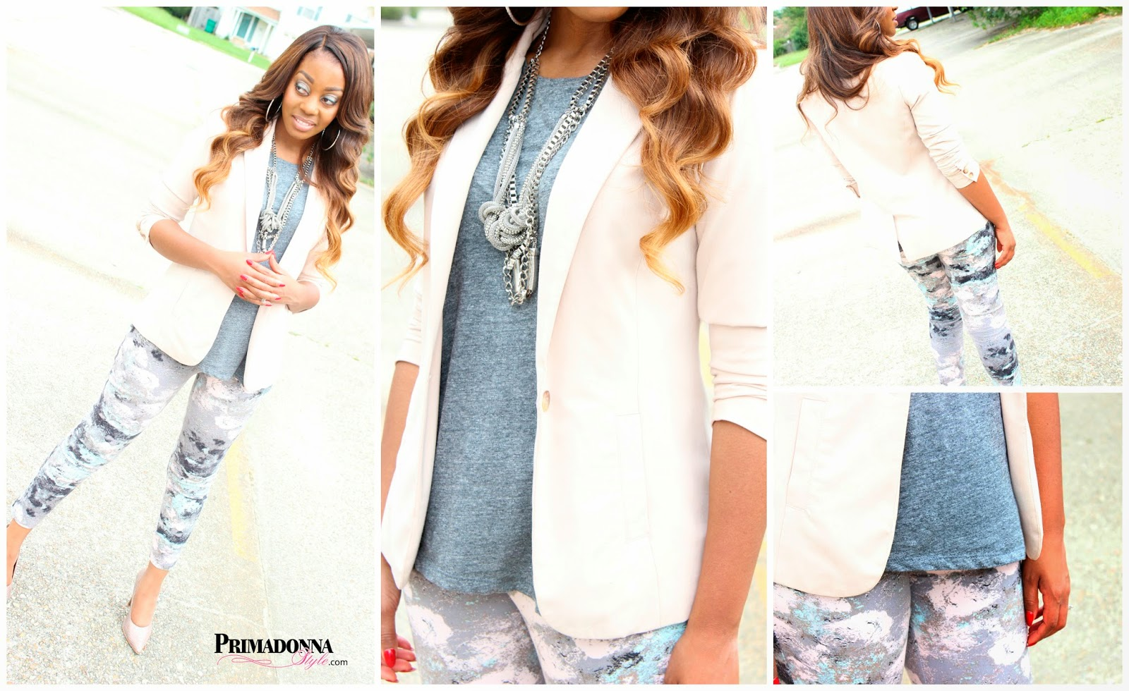 Forever 21 Blush Blazer H&M Slub Jersey Tee Gray Melange Mossimo Women's Ankle Pant Fit 3 Taupe Heels