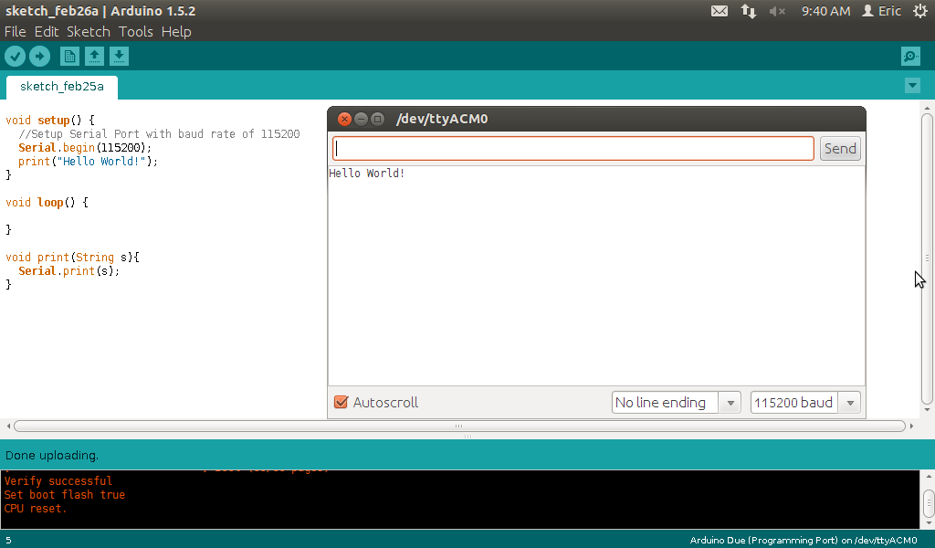 Arduino er hello world on due with message