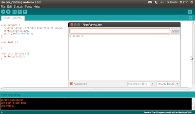 Hello World on Arduino Due, with message printed in Serial port.