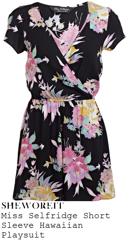 stephanie-waring-black-and-bright-multicoloured-hawaiian-tropical-floral-print-wrap-front-playsuit