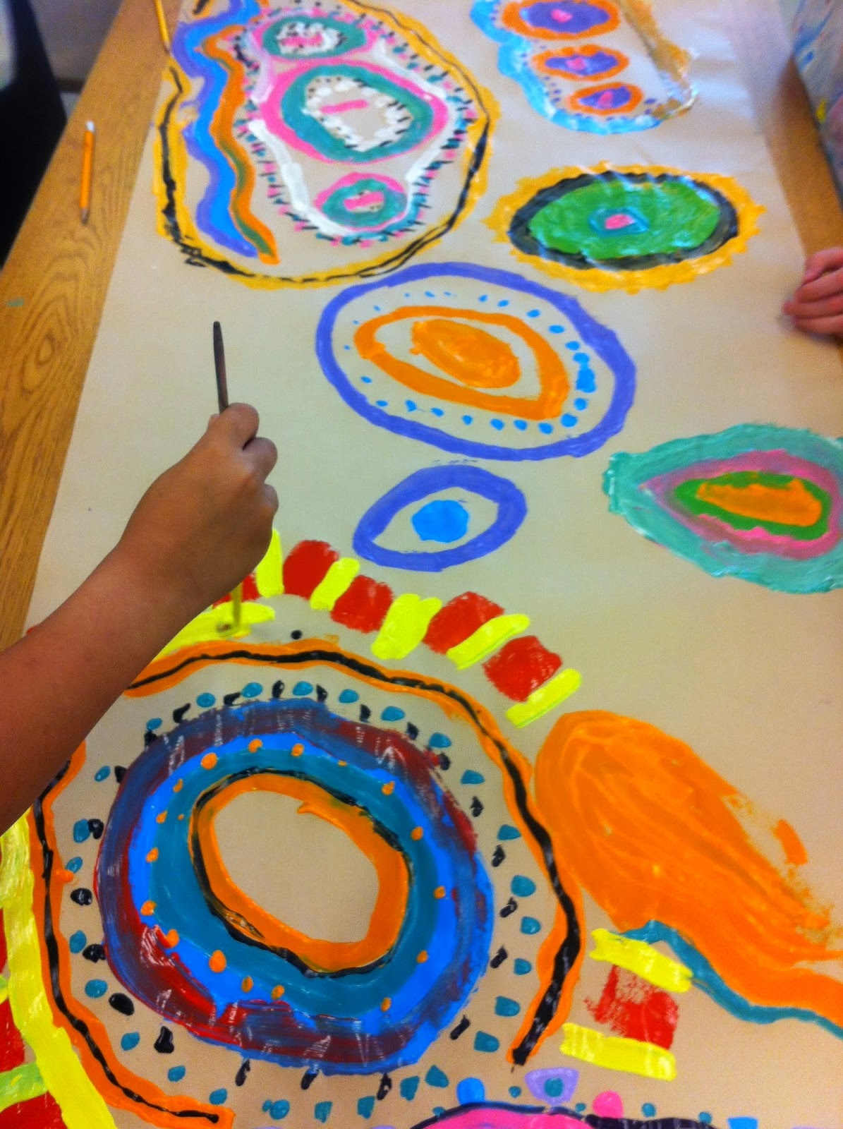 collaborative concentric circle painting - Preschool Painting Games