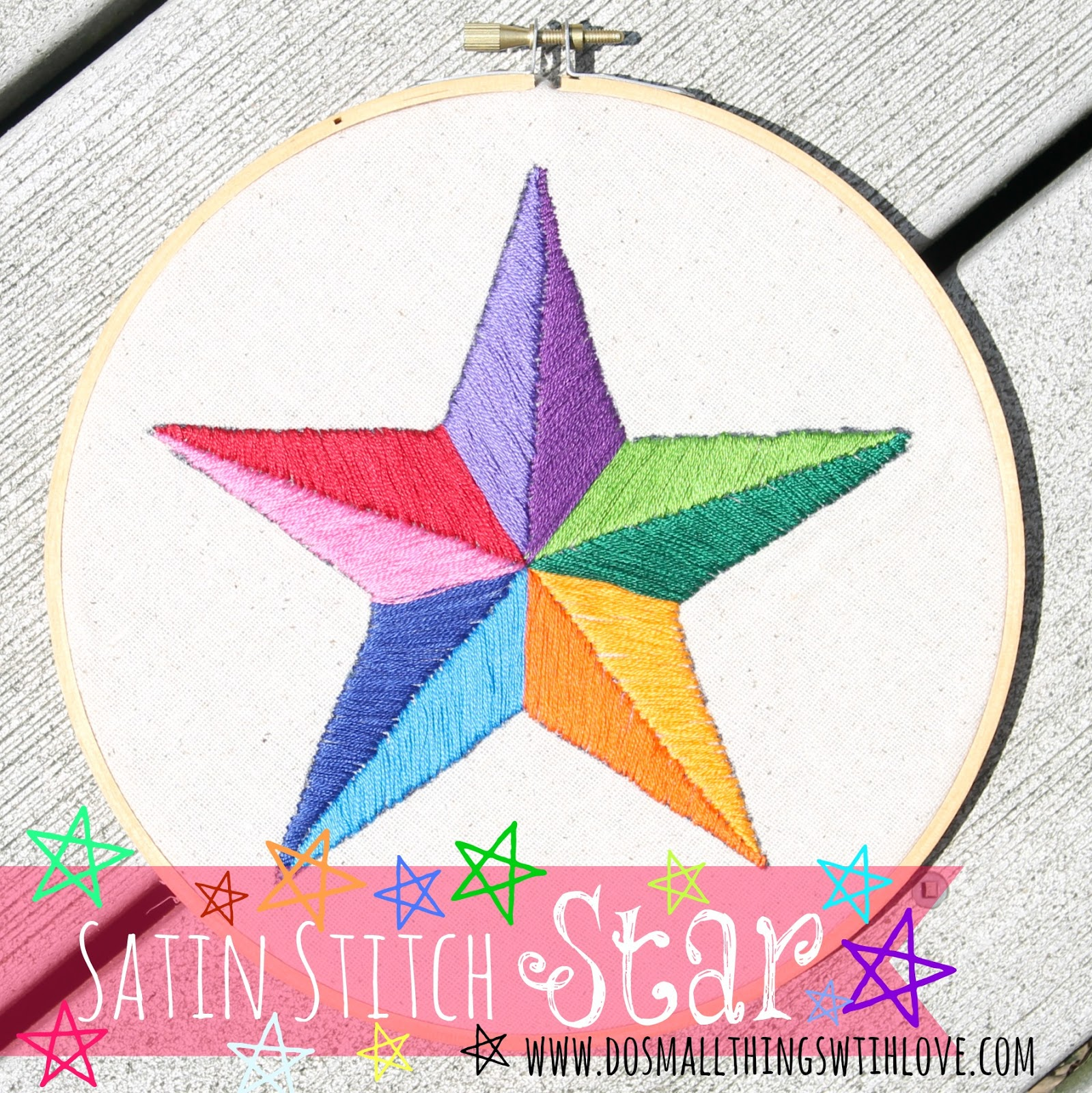 Satin Stitch Star Do Small Things With Great Love