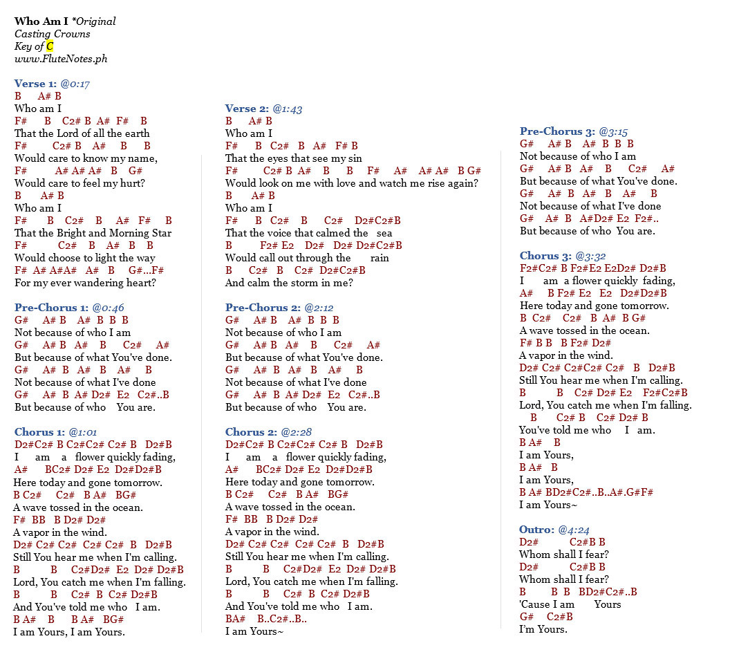 Who am i casting crowns music letter notation with lyrics for who am i casting crowns original version notes hexwebz Images
