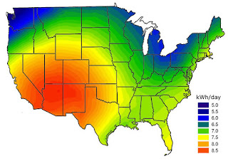 Sunniest Places in USA - Sunlight Intensity Map