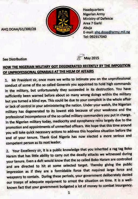 nigerian army open letter jonathan