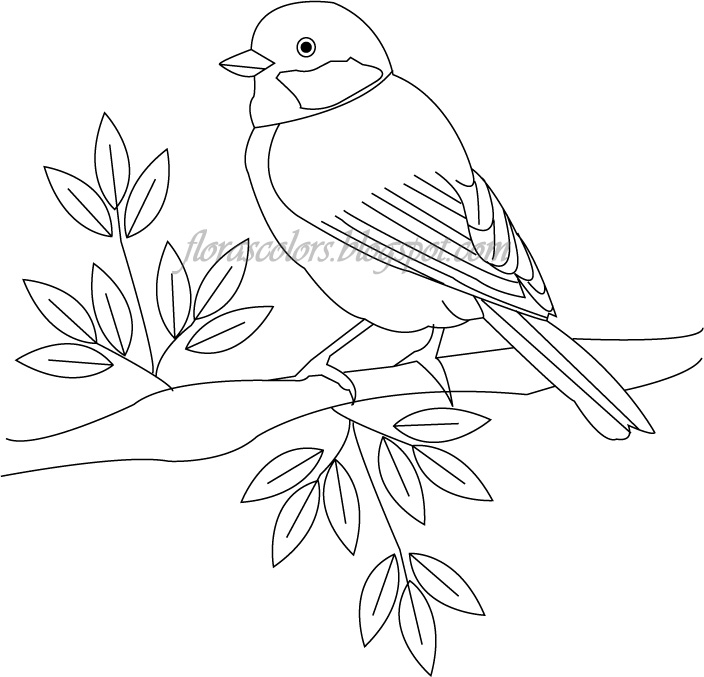 Floras Colors Free Hand Embroidery Pattern Bird On A Tree