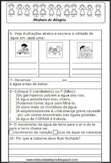 Avaliação de português - 3º ano - tema água