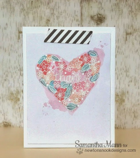 Floral Thank you Heart Card by Samantha Mann | | Stamps by Newton's Nook Designs