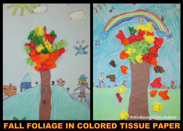 photo of: Fall Tree Art Project in Elementary School with Tissue Paper (Fall RoundUP via RainbowsWithinReach)