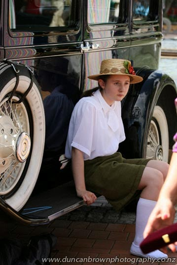 Time out on the running-bored, in the shady side of a vintage car photograph