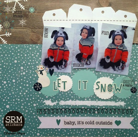 SRM Stickers Blog - Snow Much Fun Layout by Christine - #winter #layout #punchedpieces #stickerstitches #stickers #sentiments
