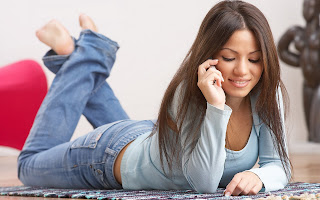 Mood Smile Girl Lying Talking On The Phone Joy Love HD Love Wallpaper