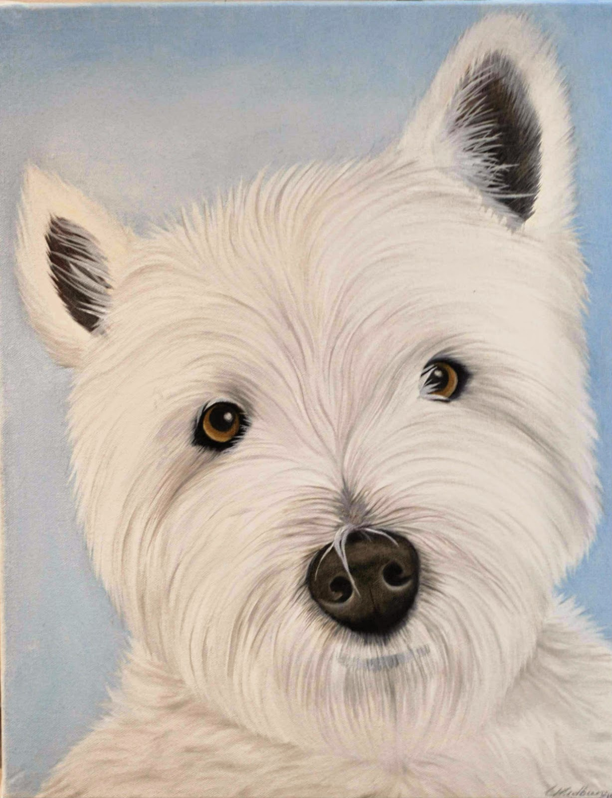 Westie Painting of Dexter the West Highland Terrier