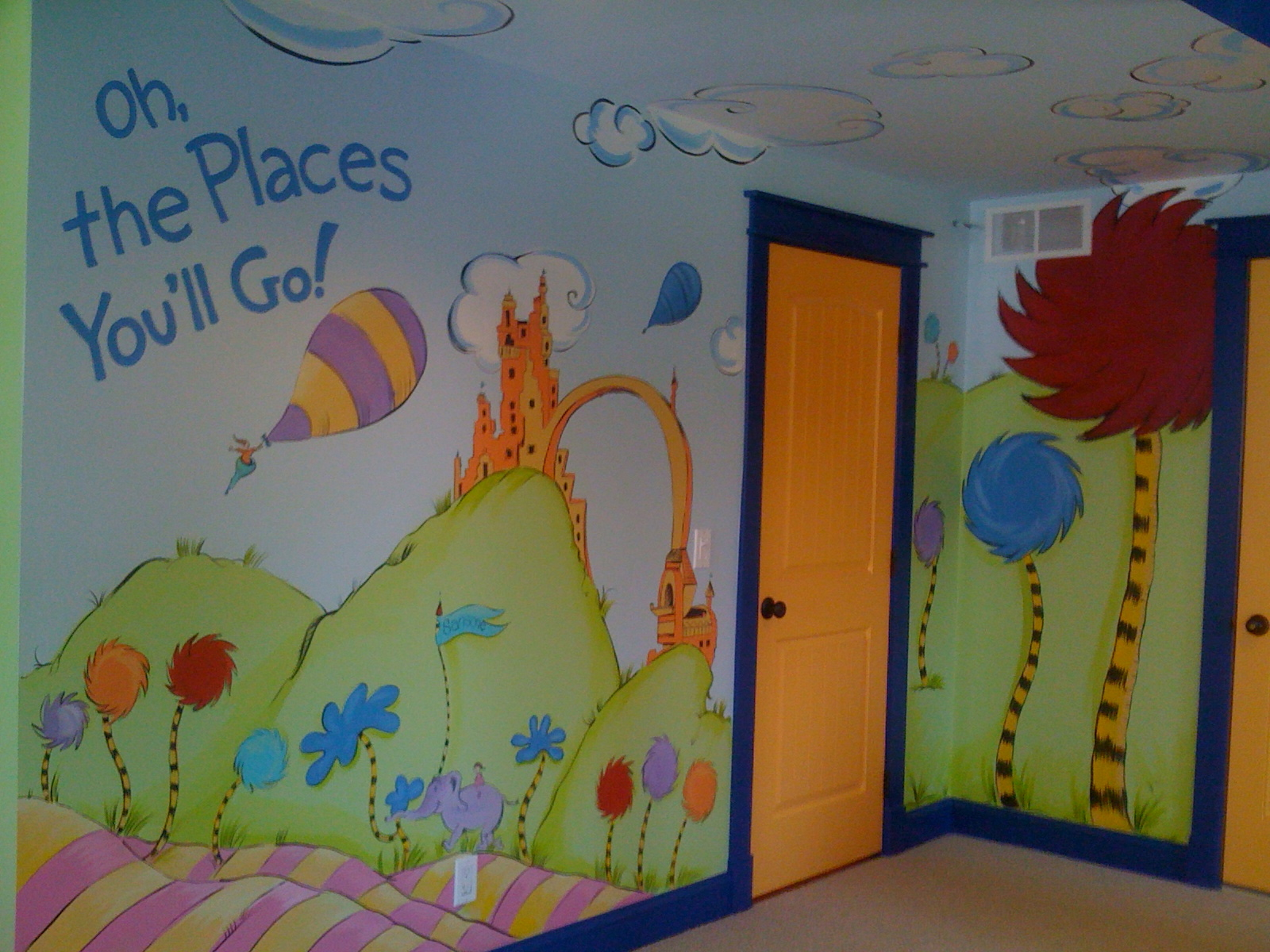Meme hill studio dr seuss mural oh the places you 39 ll go for Childrens room mural