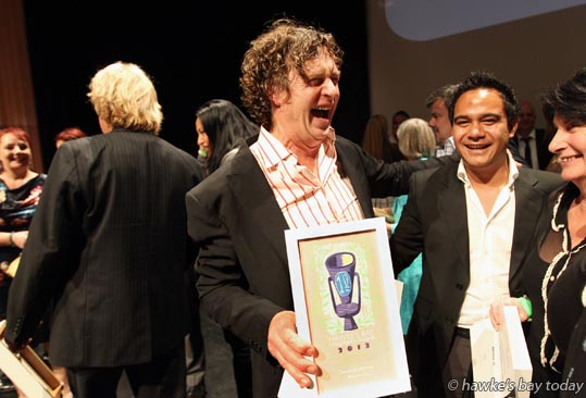 Centre: David Griffiths, chef, Mister D, Napier, won the Outstanding Chef Award, at the annual Hawke's Bay Hospitality Awards, held at the Napier Municipal Theatre, Napier photograph