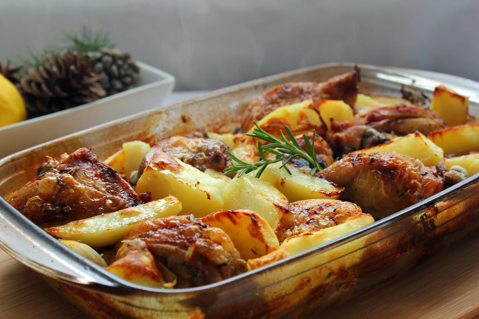 Cocinando con las chachas pollo asado con tomillo romero - Pollo al horno con limon y patatas ...