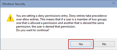 confirm deny permissions entry to windows 10 folder