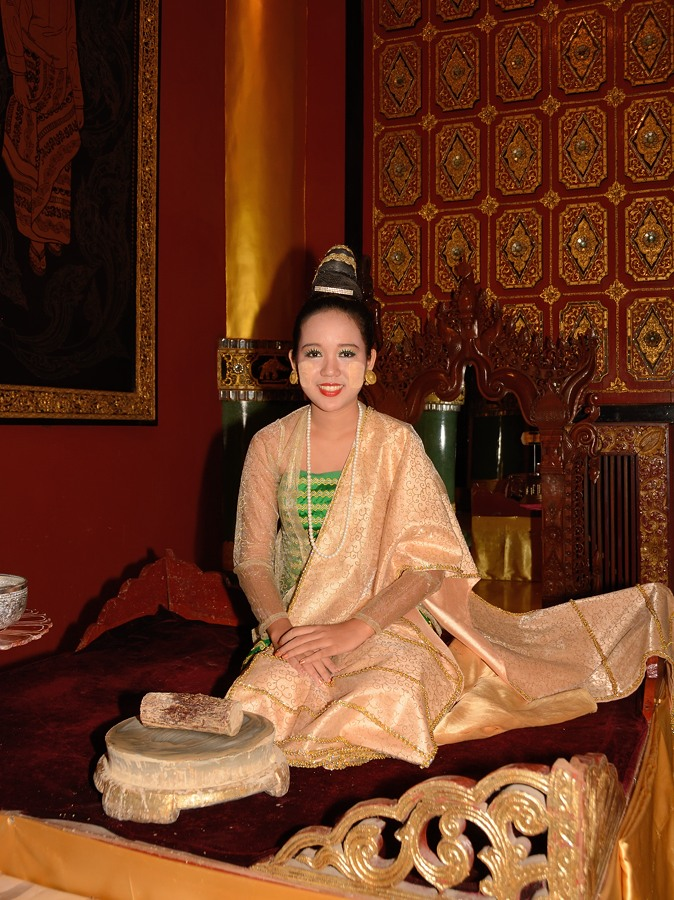 Young woman wearing thanaka in Myanmar