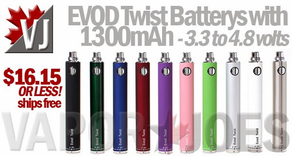 Plenty of Power! - EVOD Twist Batteries with 1300mAh