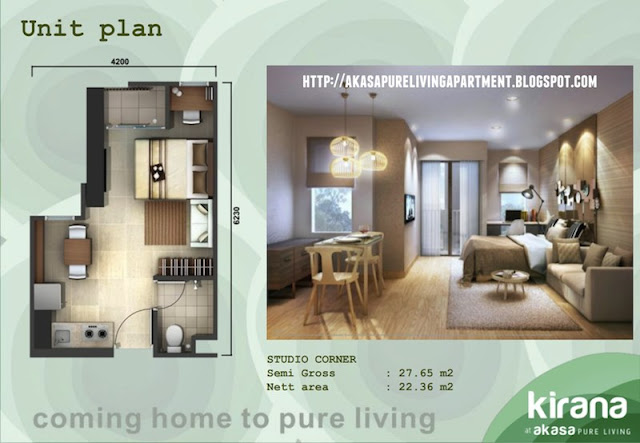 Tipe Studio Corner Akasa Pure Living BSD Apartment Tower Kirana