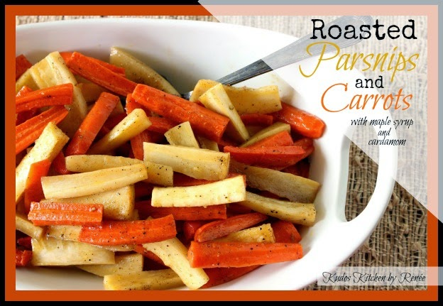 Parsnips and Carrots are roasted to sweet perfection and then drizzled with pure maple syrup and sprinkled with sweet and spicy cardamom.