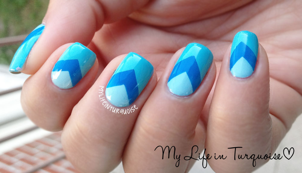 View Images My Life In Turquoise Chevron Nail Art