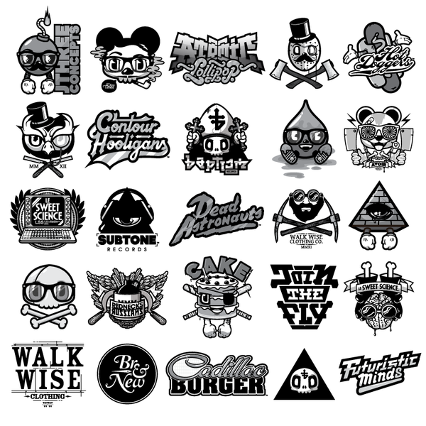 downgila art black and white design stickers posters cadillac burgers futuristic design