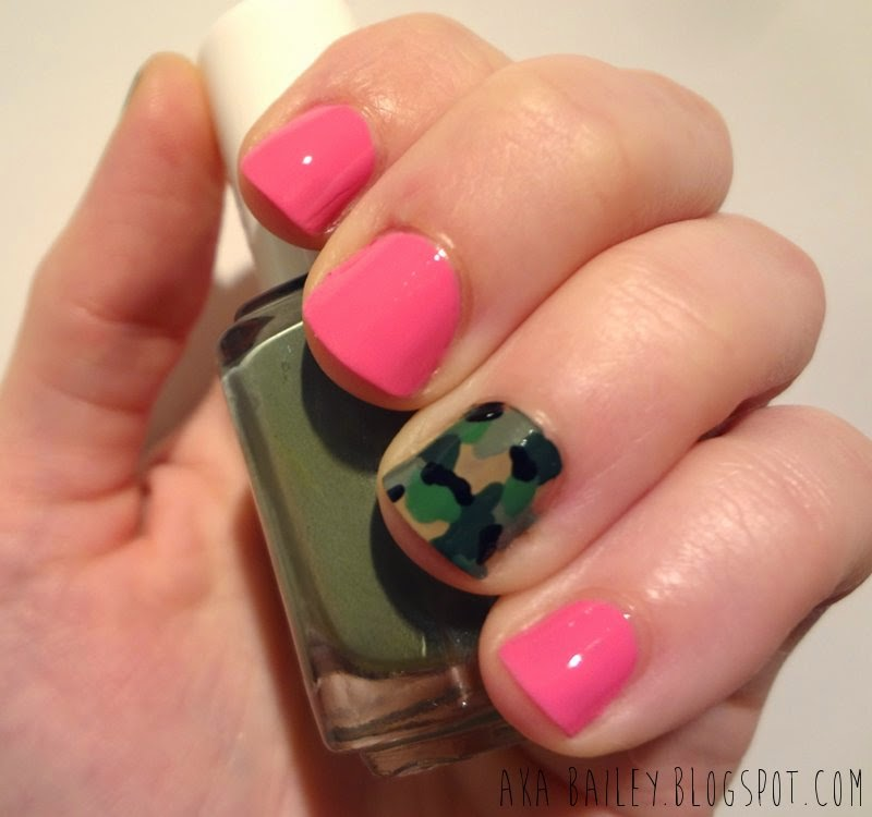 Pink nails with army print accent nails
