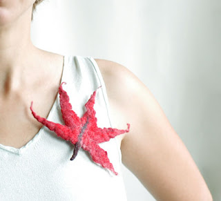 red burgundy maple leaf brooch