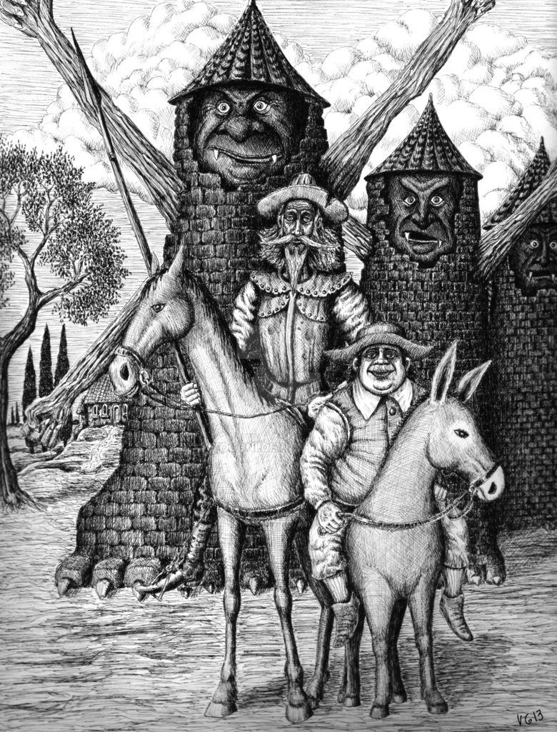 08-Don-Quixote-and-Sancho-Panza-Vitaliy-Gonikman-Surreal-Black-and-White-Drawings-with-a-Message-www-designstack-co