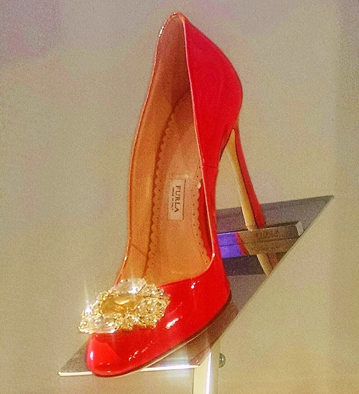 Furla jeweled patent stiletto pump