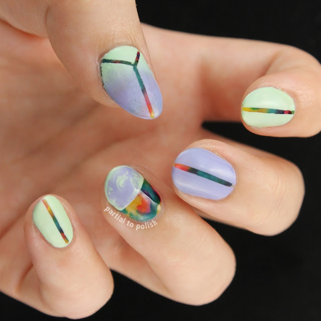 Squishy Rainbow Marble Using the OPI Color Paints (Magenta Muse, Primarily Yellow and Turquoise Aesthetic) & A Mint and Lilac Look On Top