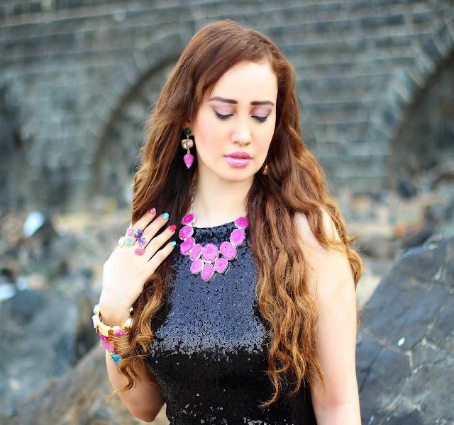 Black Sequin Dress, Agate Necklace, Statement Rings, Semi-Precious Jewelry, Silvette